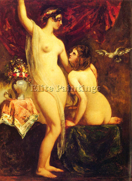 WILLIAM ETTY TWO NUDES IN AN INTERIOR ARTIST PAINTING REPRODUCTION HANDMADE OIL