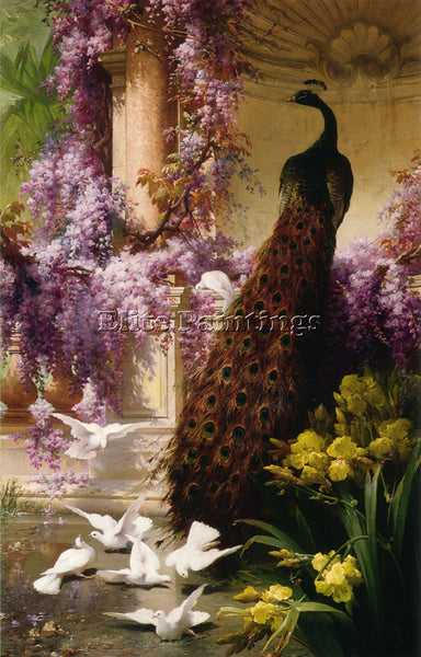 FRENCH EUGENE BIDAU A PEACOCK AND DOVES IN A GARDEN ARTIST PAINTING REPRODUCTION