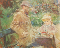 MORISOT EUGENE MANET AND HIS DAUGHTER IN BOUGIVAL ARTIST PAINTING REPRODUCTION