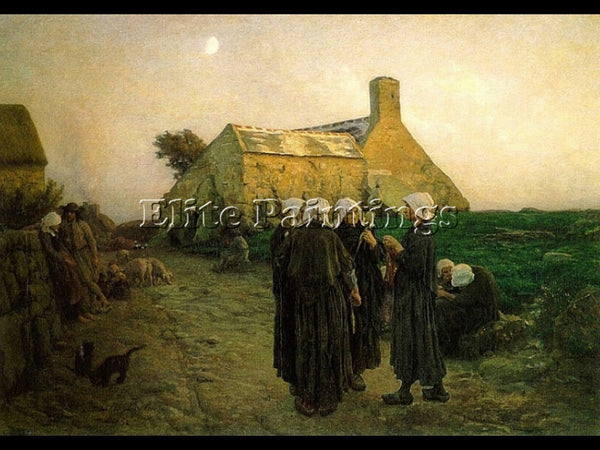 JULES BRETON EVENING IN THE HAMLET OF FINISTERE ARTIST PAINTING REPRODUCTION OIL
