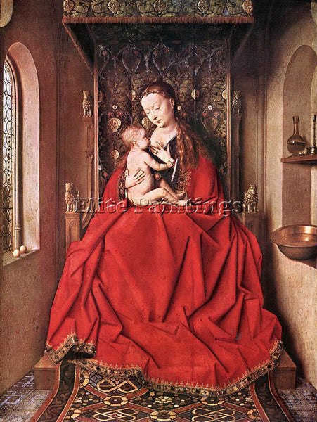JAN VAN EYCK SUCKLING MADONNA ENTH ARTIST PAINTING REPRODUCTION HANDMADE OIL ART
