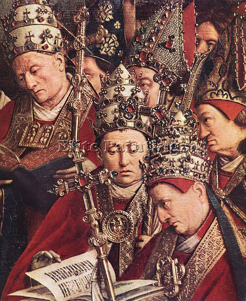 JAN VAN EYCK GHENT ALTARPIECE ADORATION LAMB DETAIL BOTTOM RIGHT ARTIST PAINTING