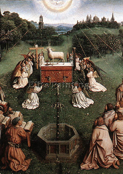 JAN VAN EYCK GHENT ALTARPIECE ADORATION OF LAMB DETAIL CENTRE PAINTING HANDMADE