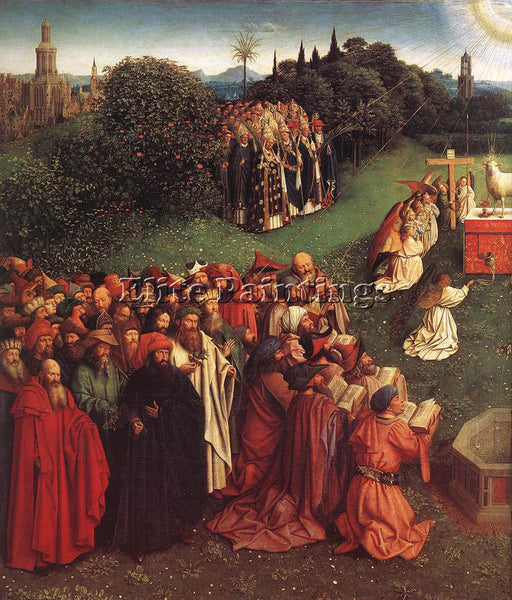 JAN VAN EYCK GHENT ALTARPIECE ADORATION OF LAMB DETAIL LEFT ARTIST PAINTING OIL