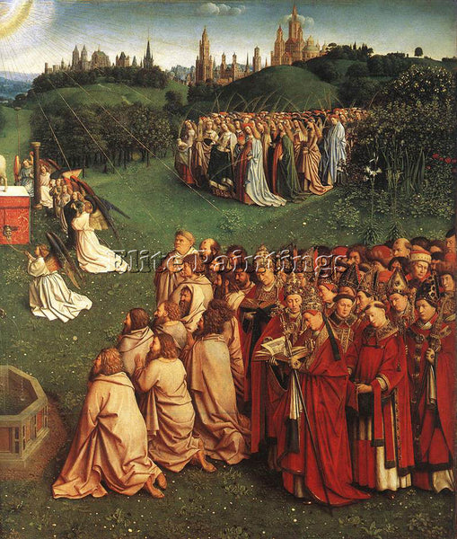 JAN VAN EYCK GHENT ALTARPIECE ADORATION OF LAMB DETAIL RIGHT ARTIST PAINTING OIL