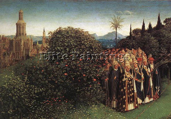 JAN VAN EYCK THE GHENT ALTARPIECE ADORATION OF THE LAMB DETAIL TOP LEFT PAINTING