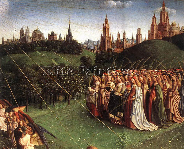 JAN VAN EYCK THE GHENT ALTARPIECE ADORATION LAMB DETAIL TOP RIGHT ARTIST CANVAS