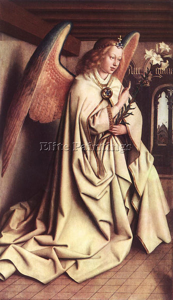JAN VAN EYCK THE GHENT ALTARPIECE ANGEL OF THE ANNUNCIATION ARTIST PAINTING OIL