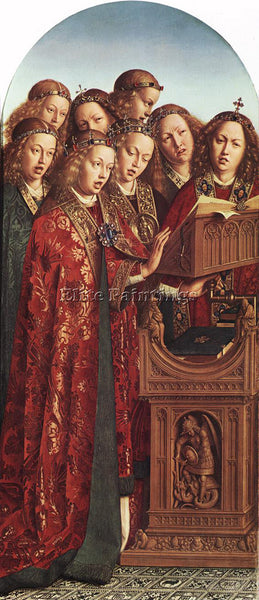 JAN VAN EYCK GHENT ALTARPIECE SINGING ANGELS ARTIST PAINTING HANDMADE OIL CANVAS