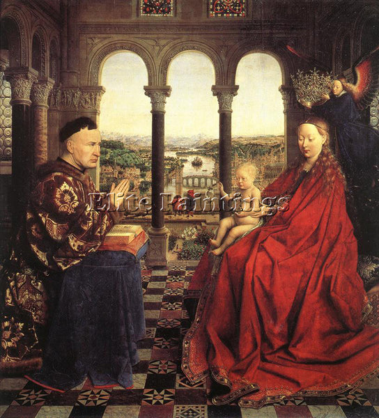 JAN VAN EYCK THE VIRGIN OF CHANCELLOR ROLIN ARTIST PAINTING HANDMADE OIL CANVAS