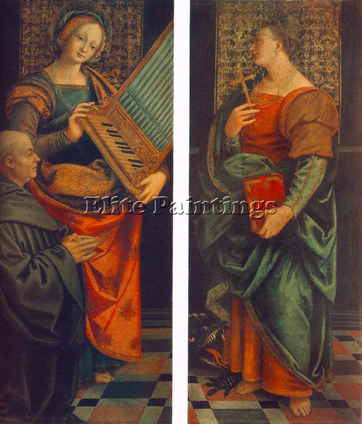 GAUDENZIO FERRARI ST CECILE WITH THE DONATOR AND ST MARGUERITE PAINTING HANDMADE