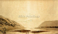CASPAR DAVID FRIEDRICH MOUNTAINOUS RIVER LANDSCAPE DAY VERSION PAINTING HANDMADE