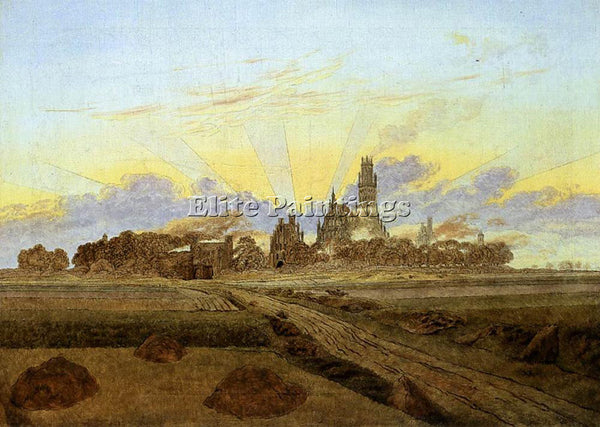 CASPAR DAVID FRIEDRICH NEUBRANDENBURG IN FLAMES ARTIST PAINTING REPRODUCTION OIL