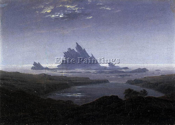 CASPAR DAVID FRIEDRICH ROCKY REEF ON THE SEA SHORE ARTIST PAINTING REPRODUCTION
