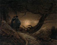 CASPAR DAVID FRIEDRICH TWO MEN CONTEMPLATING THE MOON ARTIST PAINTING HANDMADE