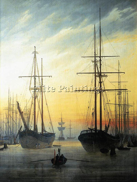 CASPAR DAVID FRIEDRICH VIEW OF A HARBOUR ARTIST PAINTING REPRODUCTION HANDMADE