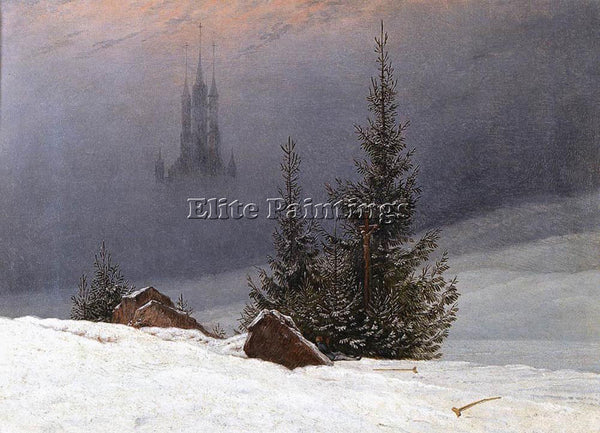 CASPAR DAVID FRIEDRICH WINTER LANDSCAPE WITH CHURCH ARTIST PAINTING REPRODUCTION