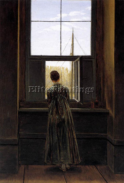 CASPAR DAVID FRIEDRICH WOMAN AT A WINDOW ARTIST PAINTING REPRODUCTION HANDMADE