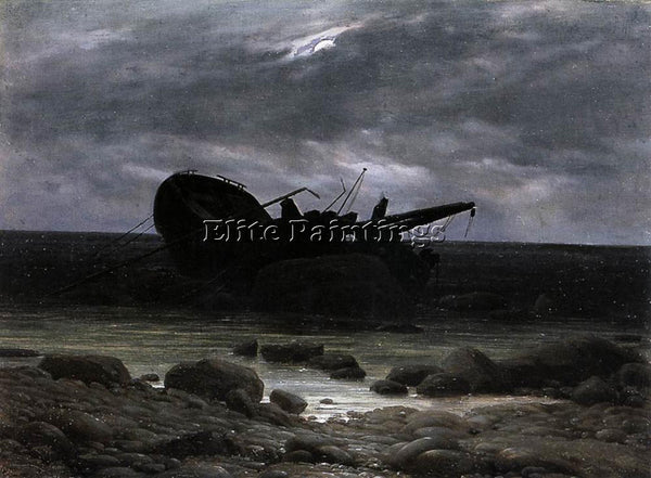 CASPAR DAVID FRIEDRICH WRECK IN THE MOONLIGHT ARTIST PAINTING REPRODUCTION OIL