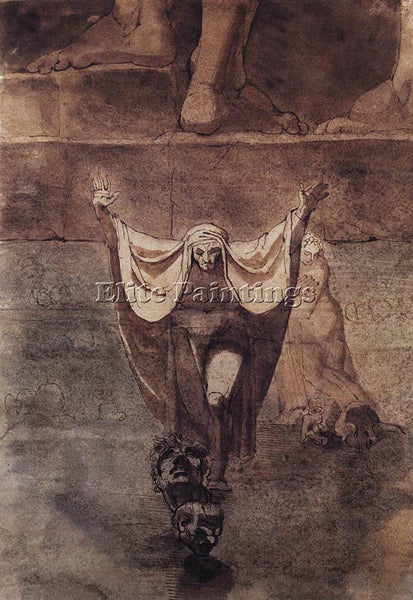 HENRY FUSELI DANTE AND VIRGIL ON THE ICE OF KOCYTHOS ARTIST PAINTING HANDMADE
