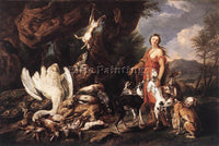 JAN FYT  DIANA WITH HER HUNTING DOGS BESIDE KILL ARTIST PAINTING HANDMADE CANVAS