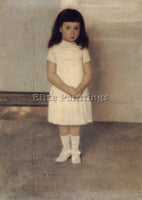 FERNAND KHNOPFF A PORTRAIT OF A STANDING GIRL IN WHITE ARTIST PAINTING HANDMADE