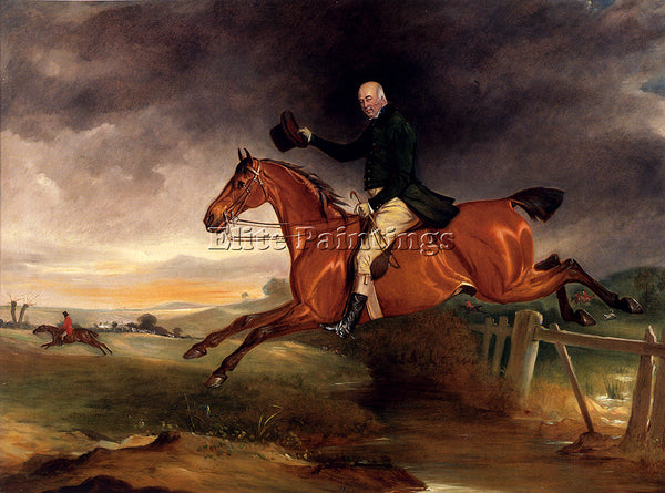 JOHN FERNELEY MR GEORGE MARRIOTT ON HIS BAY HUNTER TAKING A FENCE ARTIST CANVAS