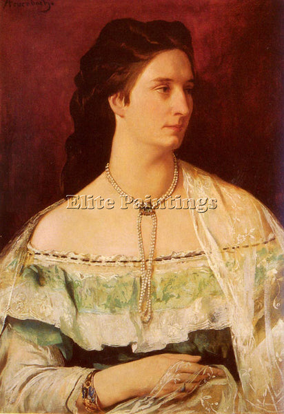 ANSELM FRIEDRICH FEUERBACH PORTRAIT OF A LADY WEARING A PEARL NECKLACE PAINTING