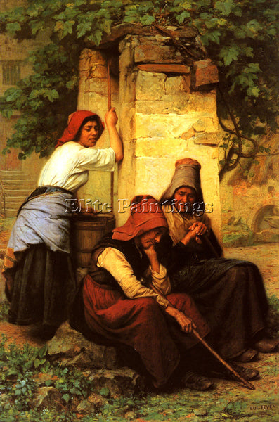 FRENCH FEYEN JACQUES EUGENE AT THE WELL ARTIST PAINTING REPRODUCTION HANDMADE