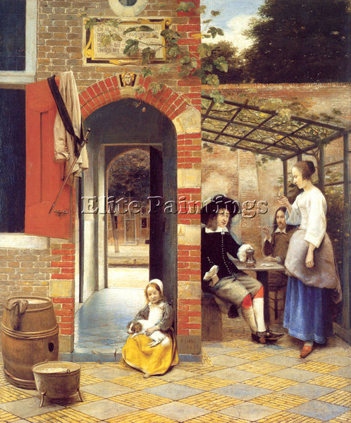 PIETER DE HOOCH FIGURES DRINKING IN A COURTYARD ARTIST PAINTING REPRODUCTION OIL