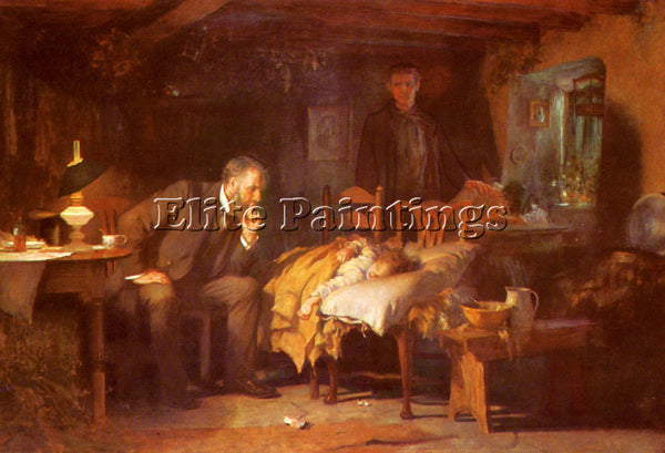 LUKE FILDES  THE DOCTOR ARTIST PAINTING REPRODUCTION HANDMADE CANVAS REPRO WALL