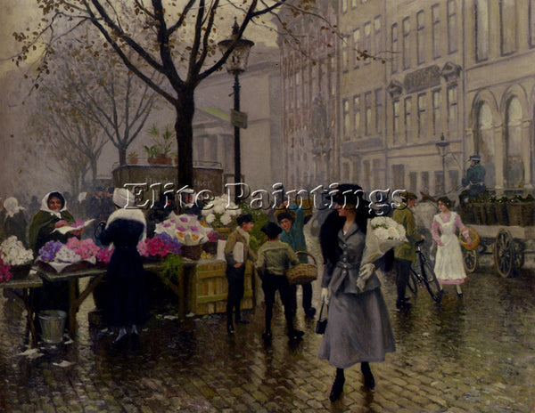 PAUL GUSTAVE FISCHER GUSTAVE THE FLOWER MARKET COPENHAGEN ARTIST PAINTING CANVAS
