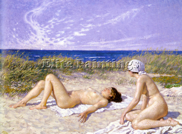 PAUL GUSTAVE FISCHER SUNBATHING IN THE DUNES ARTIST PAINTING HANDMADE OIL CANVAS