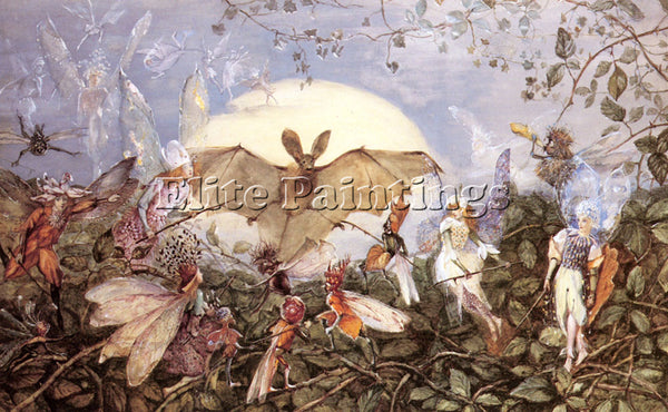 JOHN ANSTER FITZGERALD FAIRY HORDES ATTACKING A BAT ARTIST PAINTING REPRODUCTION