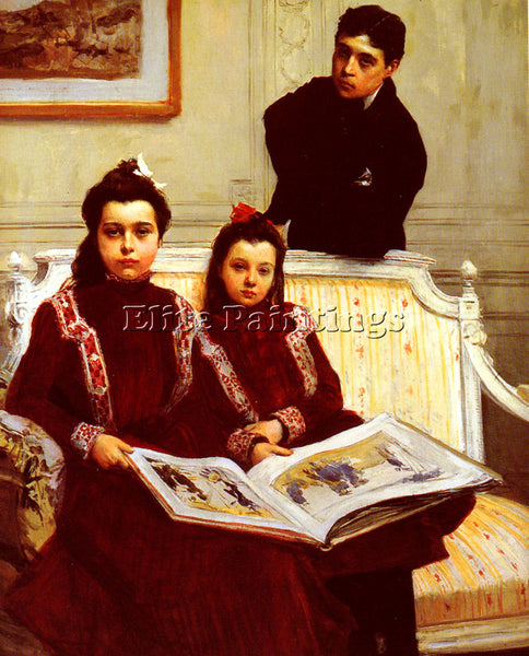 FRANCOIS FLAMENG  FAMILY PORTRAIT OF A BOY AND HIS TWO SISTERS PAINTING HANDMADE