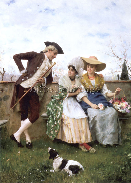 FEDERICO ANDREOTTI FLIRTATION ARTIST PAINTING REPRODUCTION HANDMADE CANVAS REPRO