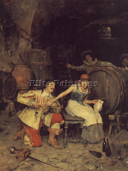 FEDERICO ANDREOTTI FLIRTATION IN THE WINE CELLAR ARTIST PAINTING HANDMADE CANVAS