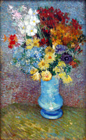 VAN GOGH FLOWERS IN A BLUE VASE ARTIST PAINTING REPRODUCTION HANDMADE OIL CANVAS
