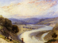 MYLES BIRKET FOSTER MELROSE ABBEY FROM THE BANKS OF THE TWEED PAINTING HANDMADE