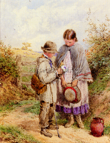 MYLES BIRKET FOSTER THE POSY ARTIST PAINTING REPRODUCTION HANDMADE CANVAS REPRO