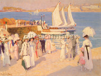 AUSTRALIAN FOX ETHEL CARRICK THE QUAY AT DINARD ARTIST PAINTING REPRODUCTION OIL