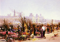 FRAIPONT GEORGES FRENCH 1873 1912 LE MARCHE AUX FLEURS PARIS ARTIST PAINTING OIL
