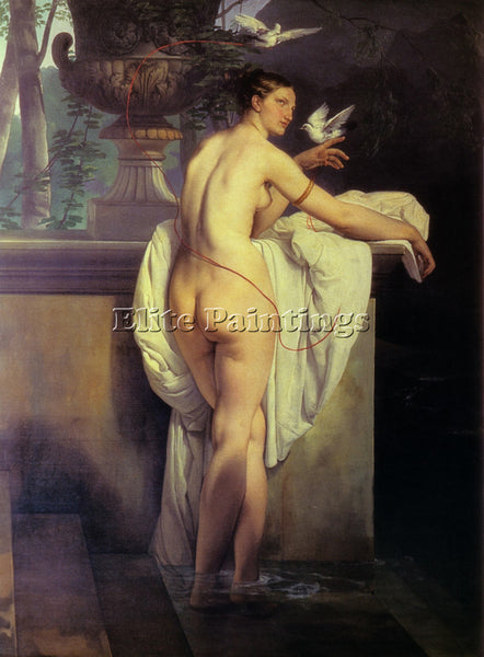 FRANCESCO HAYEZ VENUS PLAYING WITH TWO DOVES 1830 LARGE ARTIST PAINTING HANDMADE