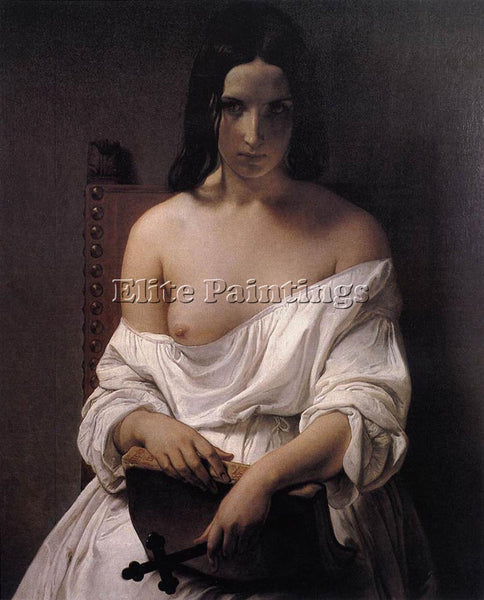 FRANCESCO HAYEZ MEDITATION ON THE HISTORY OF ITALY ARTIST PAINTING REPRODUCTION