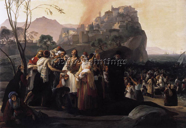 FRANCESCO HAYEZ THE REFUGEES OF PARGA ARTIST PAINTING REPRODUCTION HANDMADE OIL
