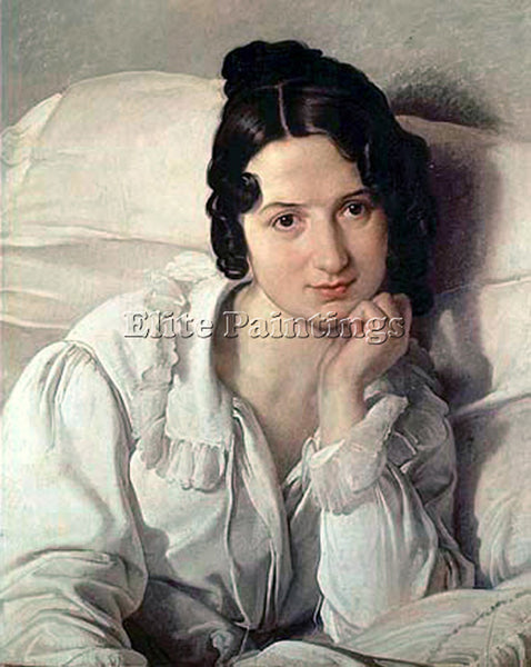 FRANCESCO HAYEZ PORTRAIT OF CAROLINA ZUCCHI ARTIST PAINTING HANDMADE OIL CANVAS