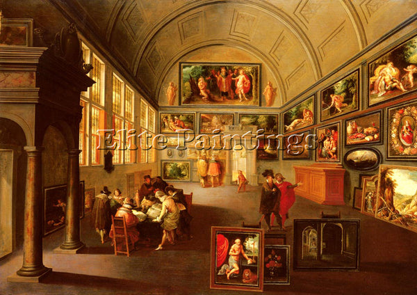 FRANS THE YOUNGER FRANCKEN  THE INTERIOR OF A PICTURE GALLERY PAINTING HANDMADE