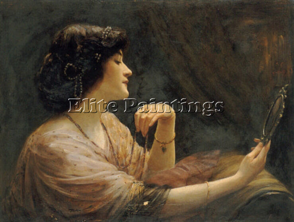 AMERICAN FRANK MARKHAM SKIPWORTH THE MIRROR ARTIST PAINTING HANDMADE OIL CANVAS