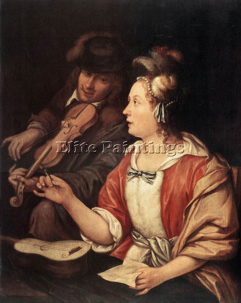 FRANS VAN MIERIS THE ELDER THE MUSIC LESSON ARTIST PAINTING HANDMADE OIL CANVAS