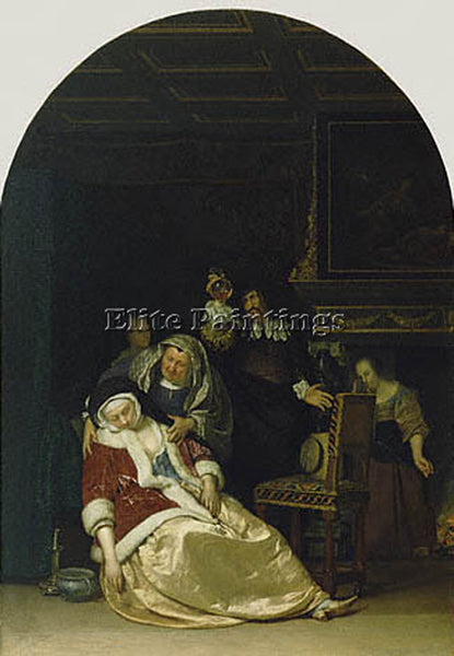 FRANS VAN MIERIS THE DOCTORS VISIT GTY ARTIST PAINTING REPRODUCTION HANDMADE OIL